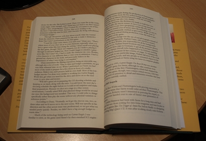 The book layout. Not a fan of the narrow margins or unjustified text.