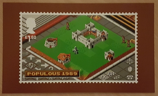 The rear of the Populous card which features an enlarged print of the game stamp